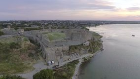 Aerial view of the old fortress in Belgorod-Dniester at sunrise, Ukraine.  stock video footage