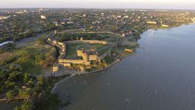 Aerial view of the old fortress in Belgorod-Dniester at sunrise, Ukraine stock video