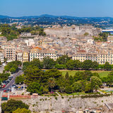 Aerial view from Old fortress on the city, Corfu Royalty Free Stock Images