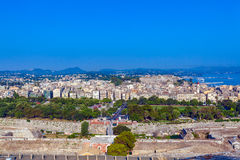 Aerial view from Old fortress on the city, Corfu Stock Images