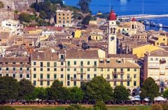 Aerial view from Old fortress on the city, Corfu Stock Photography