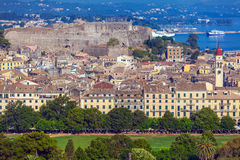 Aerial view from Old fortress on the city, Corfu Stock Photos