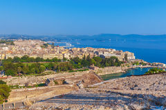 Aerial view from Old fortress on the city, Corfu Royalty Free Stock Image