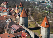 Aerial view on old fortress in Tallinn Stock Images