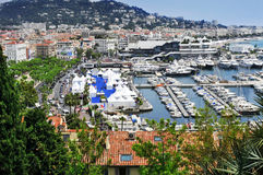 Aerial view of the old harbor and the marina of Cannes, France Stock Photo