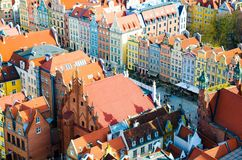Aerial view of old historical town centre, typical colorful multicolored facades houses buildings at Dluga Long Market street from royalty free stock photos