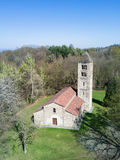 Aerial view of a old italian rural church. San Secondo is an ant Stock Photography