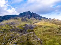 Aerial view of the old man of Storr in autumn - Isle of Skye, Scotland royalty free stock image