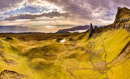 Aerial view of the Old Man of Storr and the Storr cliffs on the Isle of Skye in autumn, Scotland, United Kingdom stock photo
