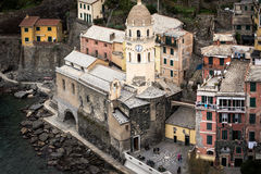 Aerial view on old medieval church of Vernaza town in Cinque Terre national park, Italy Royalty Free Stock Photography