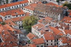 Aerial view of old medieval town Kotor Royalty Free Stock Photo