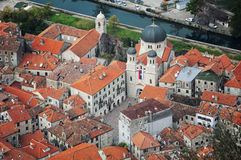 Aerial view of old medieval town Kotor Royalty Free Stock Image