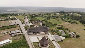 Aerial view of an old monastery stock footage