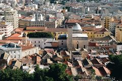 Aerial view in the old neighborhood of Cagliari Castello - Sardinia stock photography