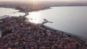 Aerial view of old Nessebar, ancient city on the Black Sea coast of Bulgaria. UNESCO World Heritage, on sunset stock video footage