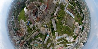 Aerial view of old and new russian buildings in green area stock illustration