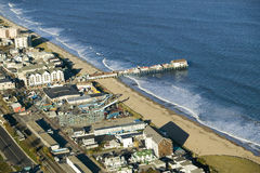 Aerial view of Old Orchard Beach downtown, pier, new hotel and amusement park on Maine Coastline south of Portland Stock Photos