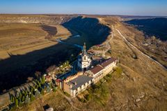 Aerial view of the Old Orhei orthodox church in Moldova republic. Aerial photography of Old Orhei and Butuceni Villages in Moldova Republic stock images