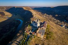 Aerial view of the old orhei orthodox church in Moldova republic. Aerial view of Old Orhei and Butuceni village shot using a high resolution drone royalty free stock image