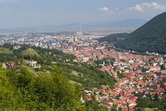 Aerial view of old part of Brasov, Romania. Beautiful up view of Brasov, old part of the city Royalty Free Stock Photography