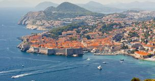 Aerial view on old part of Dubrovnik - Croatia. Royalty Free Stock Image