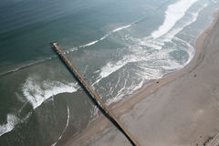 Aerial view of an old Pier. On Machas Beach in Arica, Chile royalty free stock image