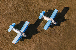Aerial view of old planes on airfield Stock Photos