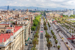 Aerial view of the old port in Barcelona Royalty Free Stock Photo