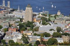 Old Quebec City aerial view, Canada Royalty Free Stock Images