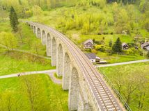 Aerial view of old railway stone viaduct Stock Photography