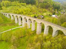 Aerial view of old railway stone viaduct Stock Photos