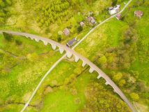 Aerial view of old railway stone viaduct Royalty Free Stock Photo