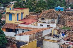 Aerial view of old roofs. Royalty Free Stock Images
