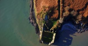 Aerial view of old ruin structure 4k