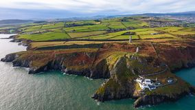 Aerial view. Wicklow Head lighthouse. county Wicklow. Ireland stock images