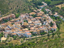 Aerial view old Spanish village La Selva de Mar Royalty Free Stock Images
