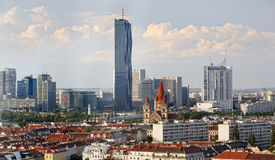Aerial view through the old to the new districts of Vienna, Austria. Aerial view through the old to the new districts of Vienna with modern buildings of the DC Royalty Free Stock Photo