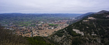 Aerial view of the old towm of Gubbio, Umbria, Italy. Aerial view of the old towm of Gubbio, Umbria,  Italy Stock Photography