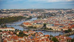 Aerial view of the Old Town architecture with red roofs in Prague , Czech Republic. Vltava river. old town panorama , Czech republ Royalty Free Stock Images