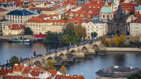 Aerial view of the Old Town architecture with red roofs in Prague , Czech Republic. Vltava river. old town panorama , Czech republ Royalty Free Stock Image