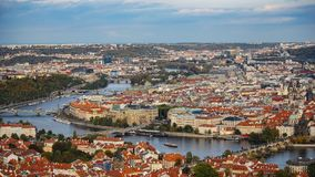 Aerial view of the Old Town architecture with red roofs in Prague , Czech Republic. Vltava river. old town panorama , Czech republ Stock Image