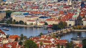 Aerial view of the Old Town architecture with red roofs in Prague , Czech Republic. Vltava river. old town panorama , Czech republ Royalty Free Stock Photos