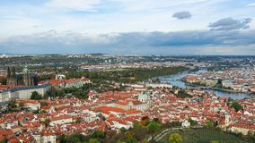 Aerial view of the Old Town architecture with red roofs in Prague , Czech Republic. Vltava river. old town panorama , Czech republ Stock Images