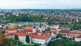 Aerial view of the Old Town architecture with red roofs in Prague , Czech Republic. Vltava river. old town panorama , Czech republ Royalty Free Stock Photography
