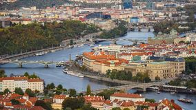 Aerial view of the Old Town architecture with red roofs in Prague , Czech Republic. Vltava river. old town panorama , Czech republ Royalty Free Stock Photo