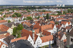 Aerial view at the old town of Augsburg Royalty Free Stock Photography
