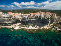 Aerial view the Old Town of Bonifacio, the limestone cliff Stock Photo