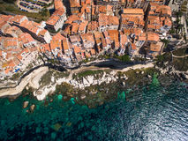 Aerial view of the Old Town of Bonifacio, the limestone cliff Royalty Free Stock Photography