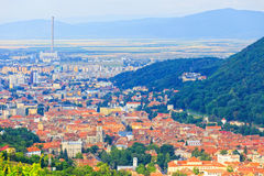 Aerial view of the Old Town, Brasov Royalty Free Stock Photo