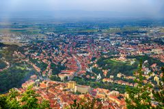 Aerial view of the Old Town, Brasov, Transylvania Royalty Free Stock Images